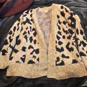 Target Mossimo Pink Leopard Cardigan XXL